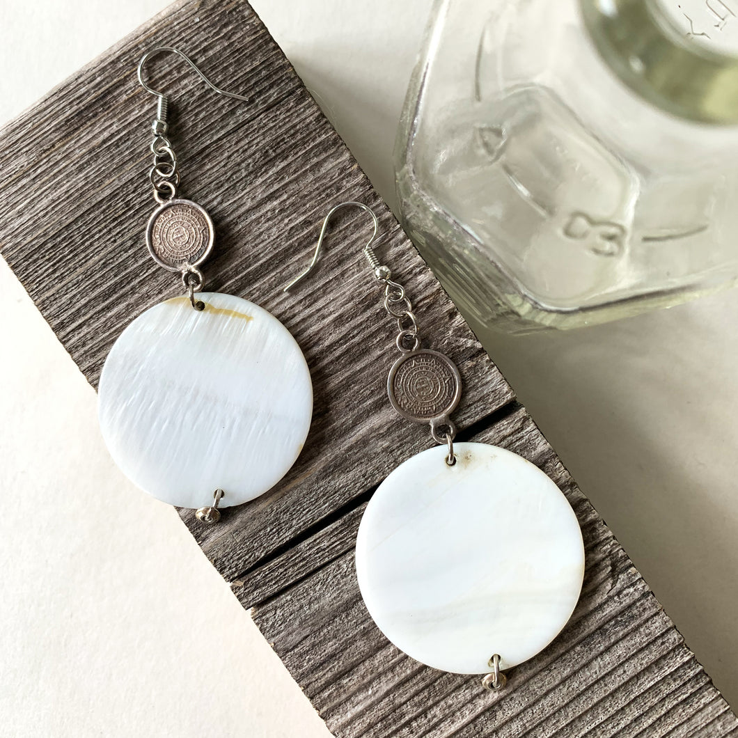 Halliday Collection Reclaimed Earrings | Shell & Silver