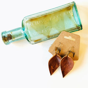 Reclaimed Leather Earrings | Cognac Leaf