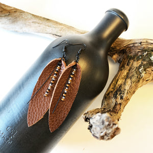Reclaimed Leather Earrings | Tobacco