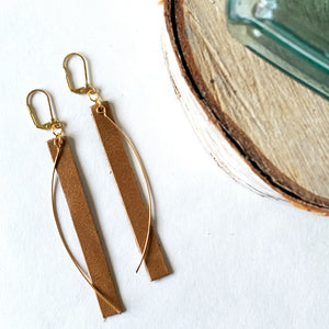 Reclaimed Leather Earrings | Sugar Cookie Gold Arc