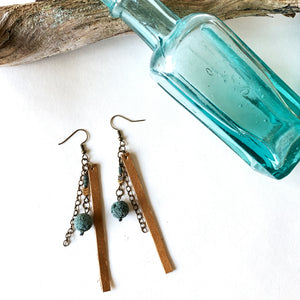 Reclaimed Leather Earrings | Sugar Cookie with Lava Beads