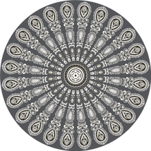 Load image into Gallery viewer, Dark grey pet friendly vinyl mat floor cloth inspired by mandala
