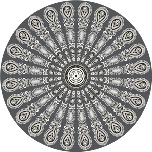 Dark grey pet friendly vinyl mat floor cloth inspired by mandala