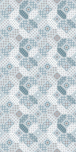 light blue patchwork vinyl mat area rug 3'x5'