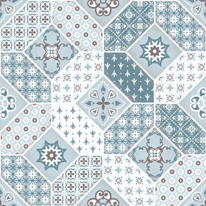 light blue patchwork vinyl mat area sample
