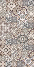 Load image into Gallery viewer, Grey and Brown vintage patchwork vinyl mat area rug 3'x5'