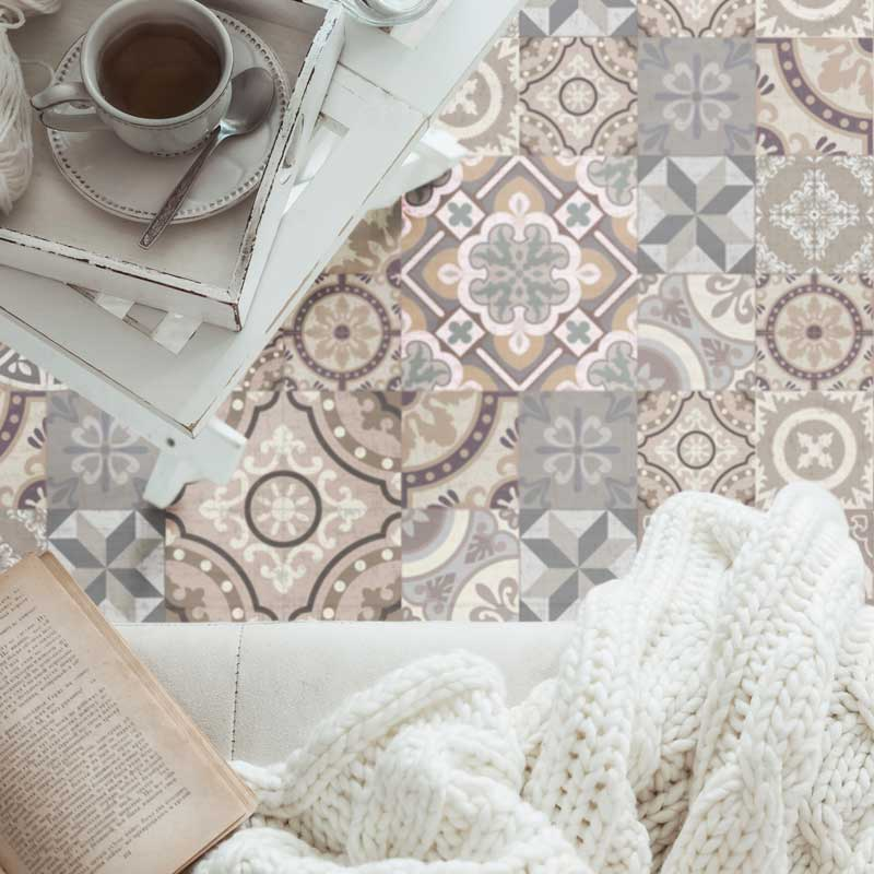 Grey and Brown vintage patchwork vinyl mat in a living room