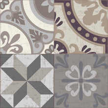 Load image into Gallery viewer, Grey and Brown vintage patchwork vinyl mat tile sample