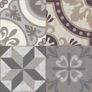 Grey and Brown vintage patchwork vinyl mat tile sample