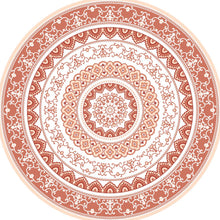 Load image into Gallery viewer, Mandala style round orange color pvc mat area rug