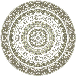Mandala style round green color pvc mat area rug