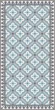 Load image into Gallery viewer, Light blue color vinyl mat design inspired by Spanish floor tiles - area mat size 3'x5'