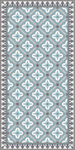 Light blue color vinyl mat design inspired by Spanish floor tiles - area mat size 3'x5'