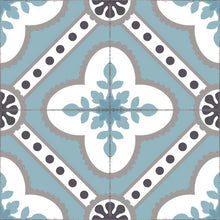 Load image into Gallery viewer, Light blue color vinyl mat design inspired by Spanish floor tiles - sample tile
