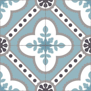 Light blue color vinyl mat design inspired by Spanish floor tiles - sample tile