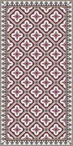 Bordeaux color vinyl mat design inspired by Spanish floor tiles - area mat 3'x5'