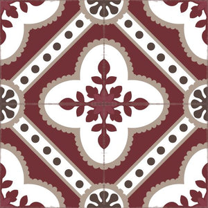 Bordeaux color vinyl mat design inspired by Spanish floor tiles - sample tile