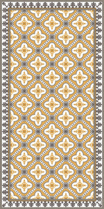 Golden color vinyl mat design inspired by Spanish floor tiles - area mat 3'x5'