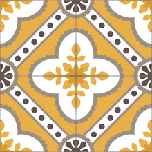 Load image into Gallery viewer, Golden color vinyl mat design inspired by Spanish floor tiles - sample tile