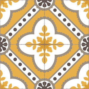 Golden color vinyl mat design inspired by Spanish floor tiles - sample tile