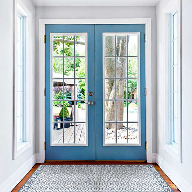 Light blue color vinyl mat design inspired by Spanish floor tiles located at the foyer