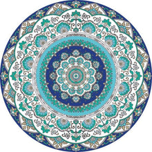 Load image into Gallery viewer, Mandala style round Turquoise color vinyl mat area rug