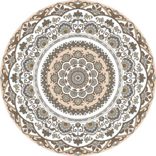 Load image into Gallery viewer, Mandala style round beige color vinyl mat area rug