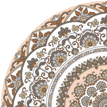 Load image into Gallery viewer, Mandala style round beige color vinyl mat sample