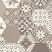Load image into Gallery viewer, Beige patchwork vinyl mat design - tile sample