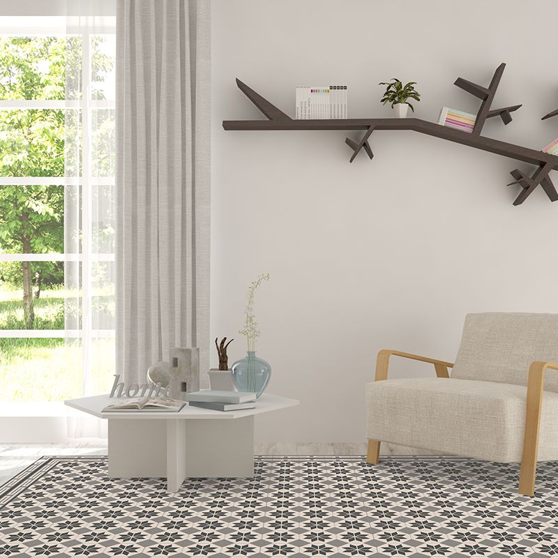 Grey vinyl mat inspired by Spanish floor tiles in a modern living room