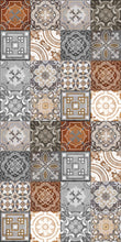 Load image into Gallery viewer, Grey and Brown vintage patchwork vinyl mat area mat size 3'x5'