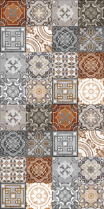 Grey and Brown vintage patchwork vinyl mat area mat size 3'x5'