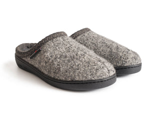 Haflinger Men's Rubber Sole Slipper Grey Speckle