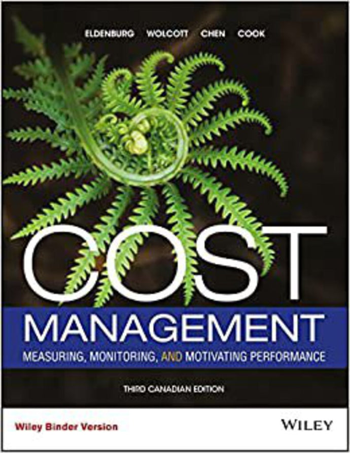 Cost Management 3rd edition with WileyPlus by Eldenburg LOOSELEAF PKG 9781119294566 *68c/d