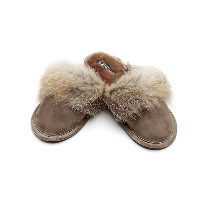 Coyote trim slippers with sheepskin