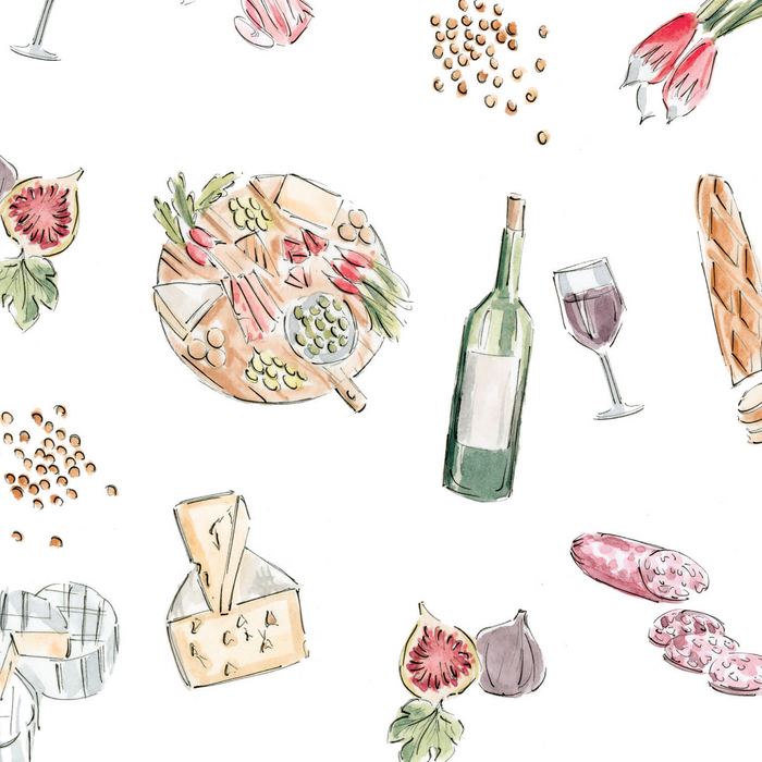 Vin, fromage et charcuterie /  wine, cheese and charcuterie - napperons de papier / paper placemats