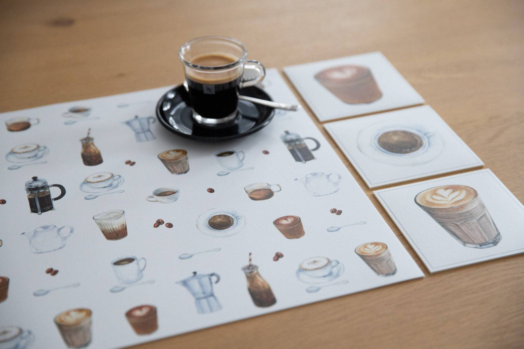 Collection café - sous-verres de vinyle (4) / vinyl coasters (4) - café 2