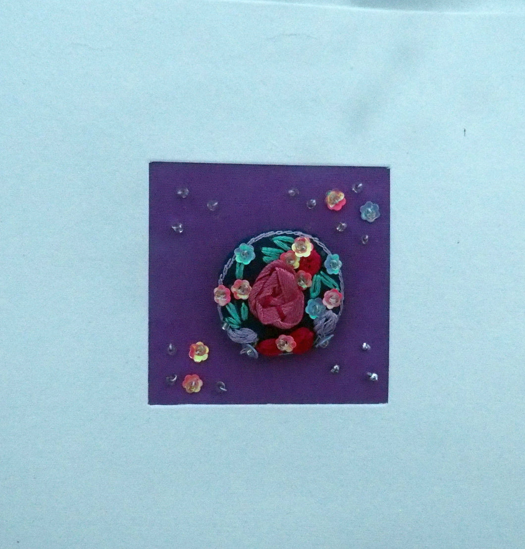 Artisans Fair Embroidered Card & Rose Brooch