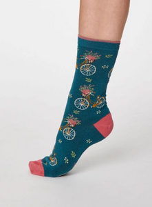 Thought Bamboo Women's Socks - Bicicletta Lagoon Blue