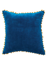 Load image into Gallery viewer, Namaste Cotton Velvet Cushion Cover with Pom Poms, 45x45 cm