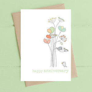 Dandelion Stationery - Happy Anniversary - Birds with Flowers
