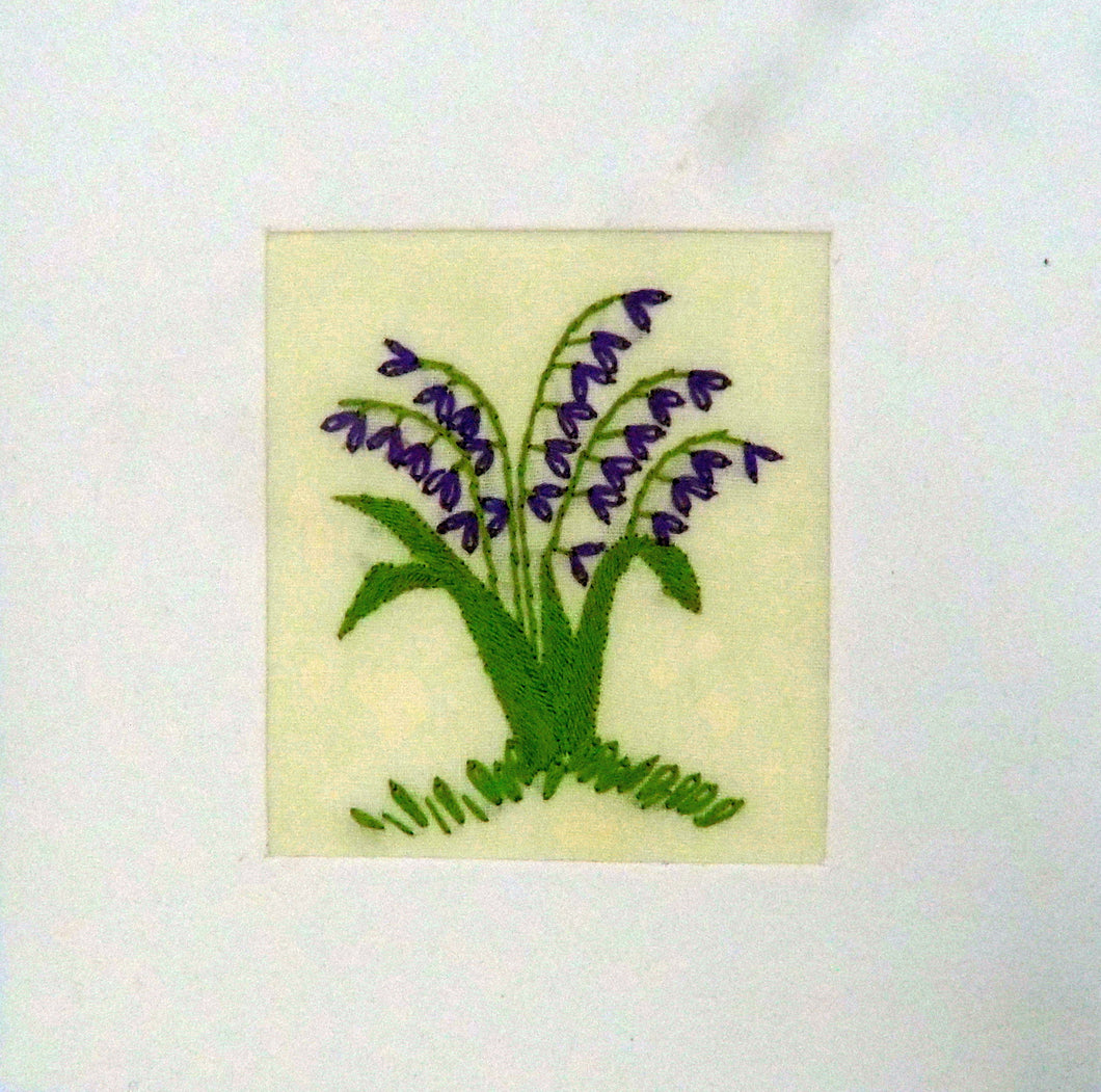 Fair to Trade Embroidered Card - Bluebells