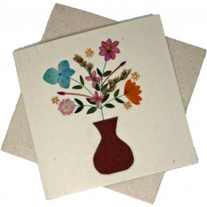 Fair to Trade Pressed Flower Card - Flower Vase