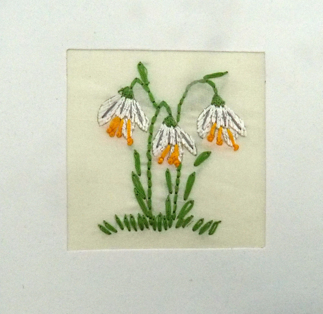 Fair to Trade Embroidered Card - Snowdrops