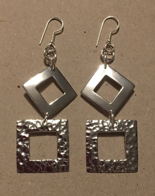 Just Trade SP Hammered Open Diamond & Square Earrings