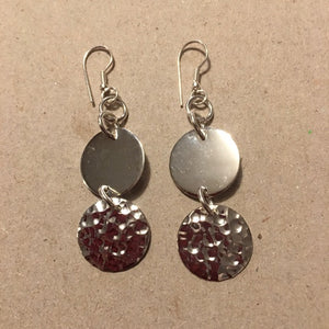 Just Trade SP Hammered 2 Circle Earrings