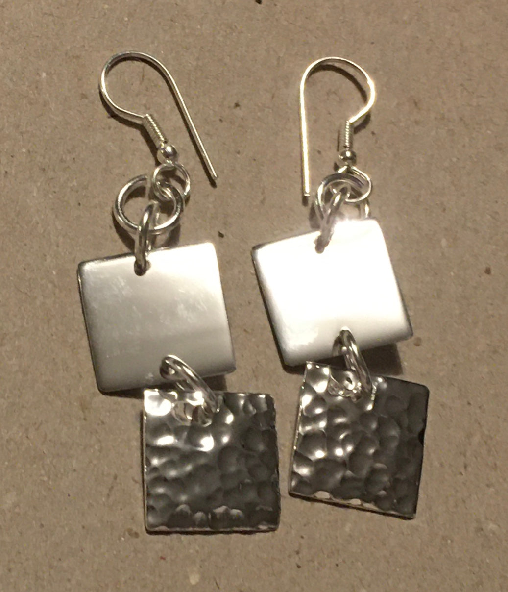 Just Trade SP Hammered 2 Square Earrings