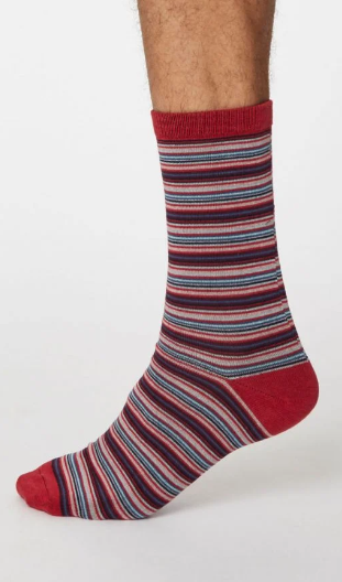 Thought Bamboo Men's Socks -  Michele Berry Red