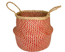 Load image into Gallery viewer, Namaste Red Zig Zag Weave Seagrass Basket
