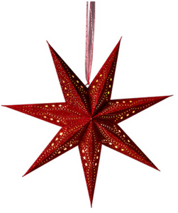 Namaste 7 Arm Red Velvet Star with Glitter and LED Lights